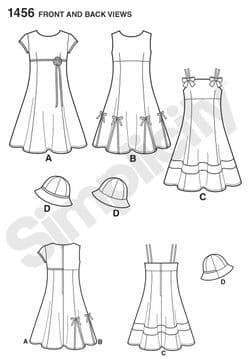 1456 Simplicity Pattern: Child's and Girls' Dress with Bodice Variations and Hat